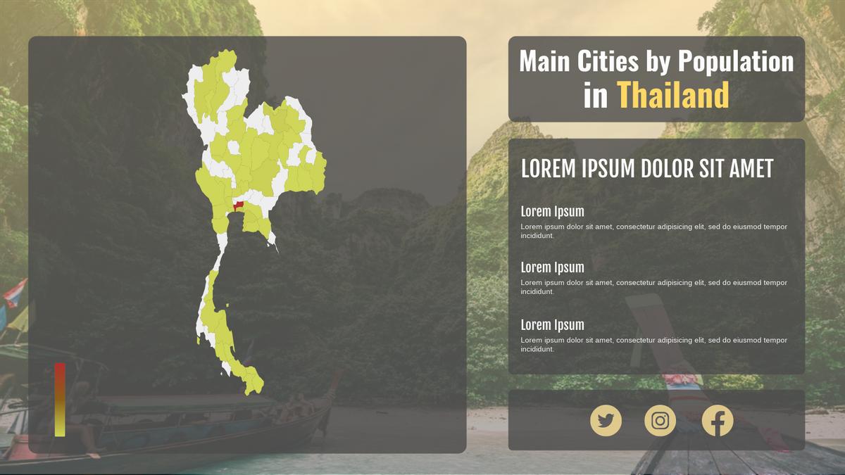 Geo Heatmap template: Main Cities by Population in Thailand Geo Heatmap (Created by Chart's Geo Heatmap maker)