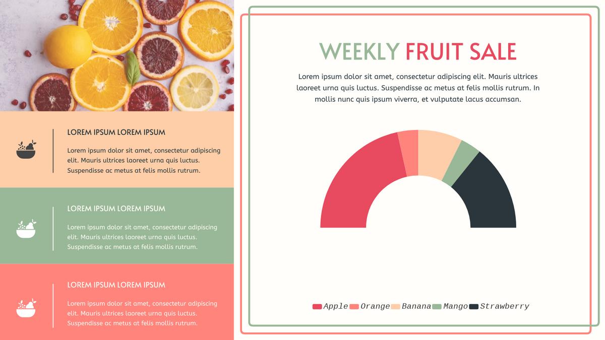 Semi Doughnut Chart template: Weekly Fruit Sale Semi-Doughnut Chart (Created by Chart's Semi Doughnut Chart maker)