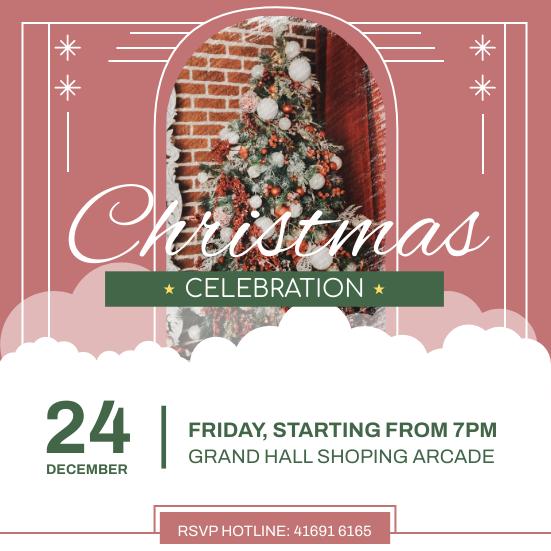 Invitation template: Retro Christmas Celebration Invitation (Created by InfoART's Invitation maker)