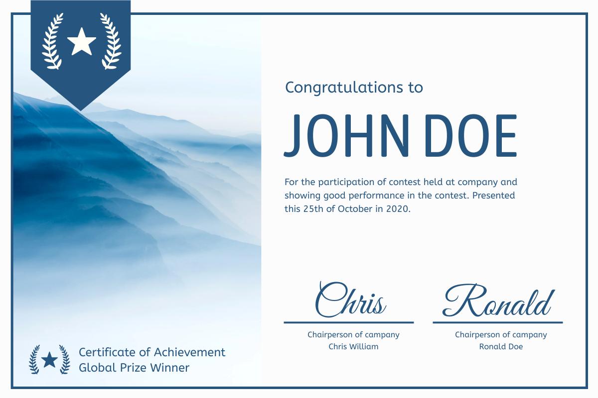 Certificate template: Blue Mountain Certificate (Created by InfoART's Certificate maker)