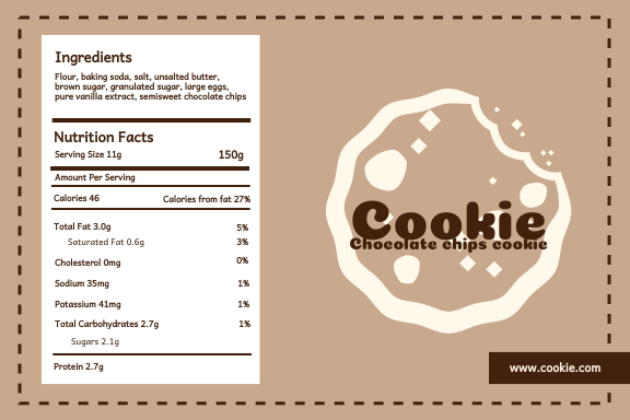 Label template: Chocolate chips cookie Label (Created by InfoART's Label maker)