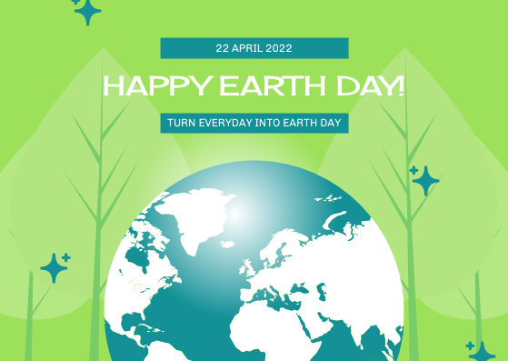 Postcard template: Green And Blue Earth and Trees Illustrations Earth Day Postcard (Created by InfoART's Postcard maker)