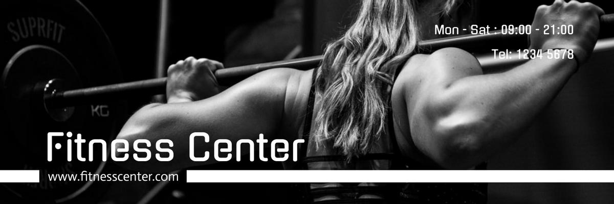 Twitter Header template: Monochrome Fitness Center Twitter Header With Details (Created by InfoART's Twitter Header maker)