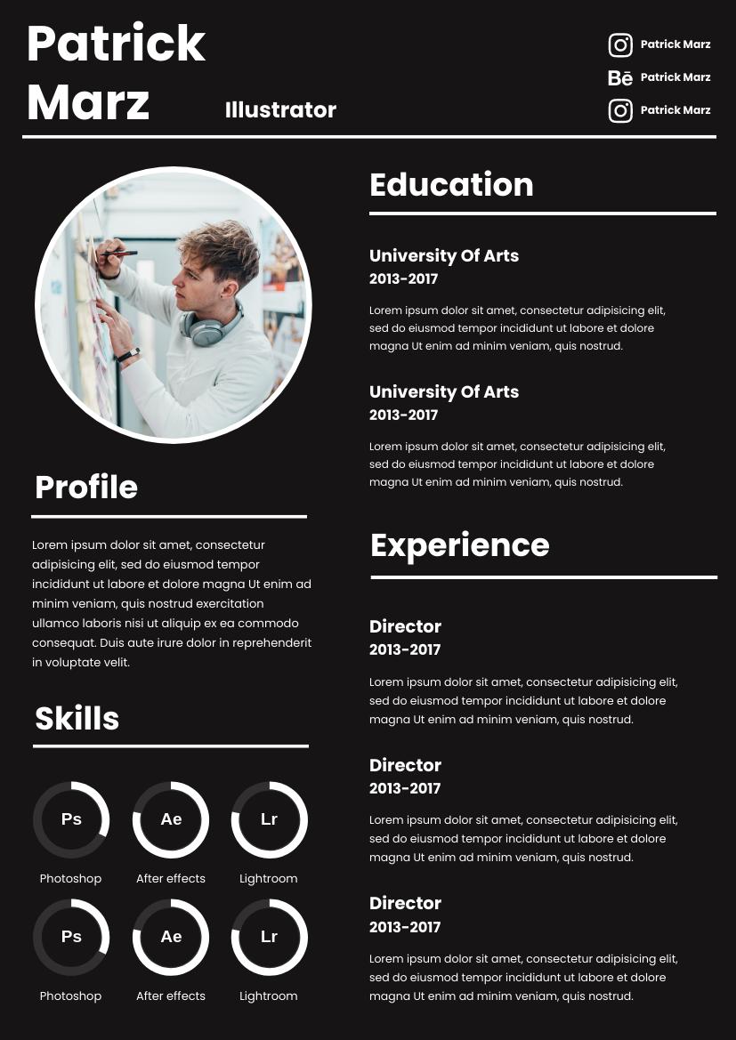 Resume template: Black Resume (Created by InfoART's Resume marker)