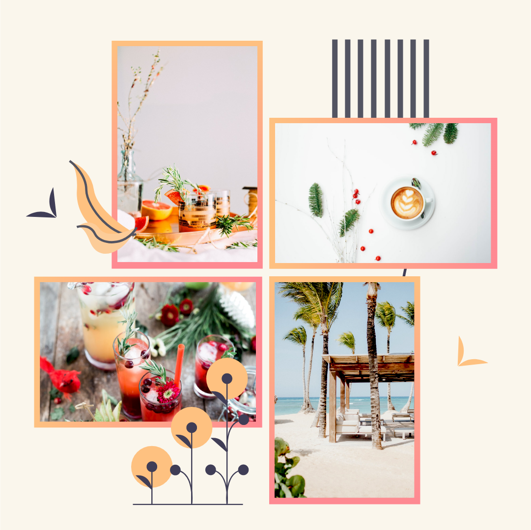 Photo Collage template: Summer Plants Illustration Photo Collage (Created by Collage's Photo Collage maker)