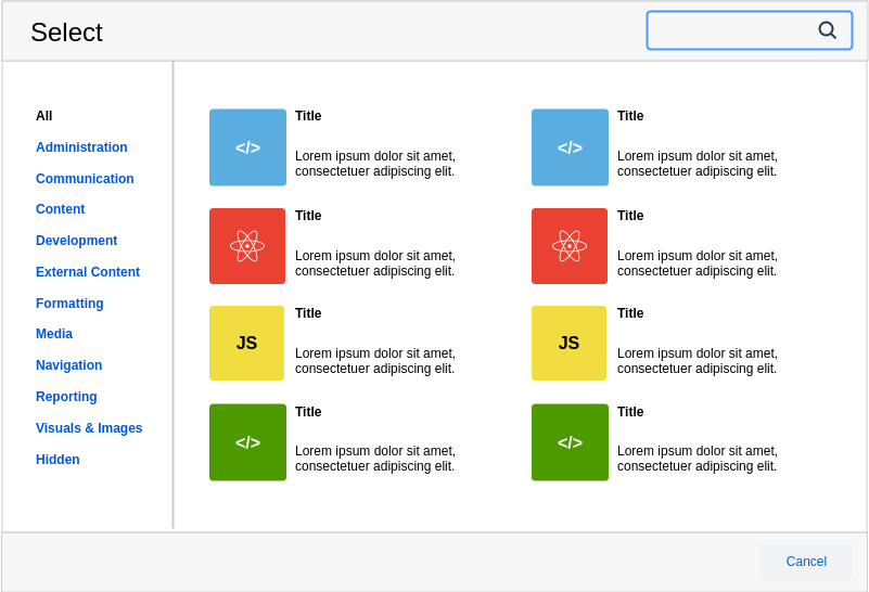 Atlassian Wireframe template: Selection Modal (Created by Diagrams's Atlassian Wireframe maker)