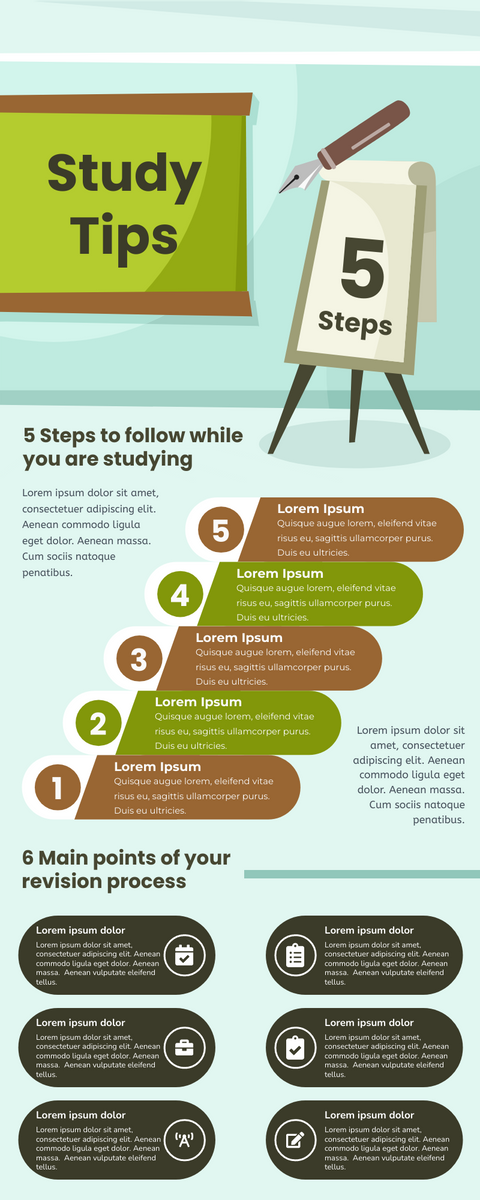 Infographic template: Infographic for the Tips of Study (Created by InfoART's Infographic maker)