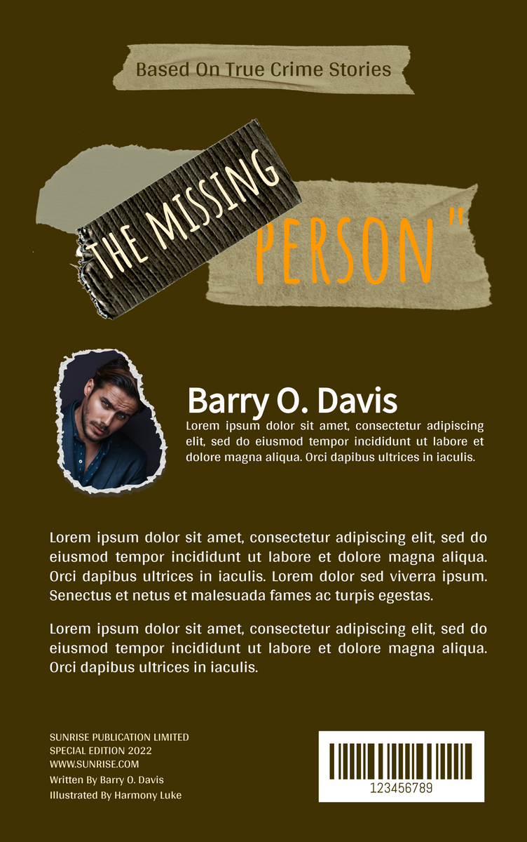 Book Cover template: Missing Person Crime Novel Book Cover (Created by InfoART's Book Cover maker)