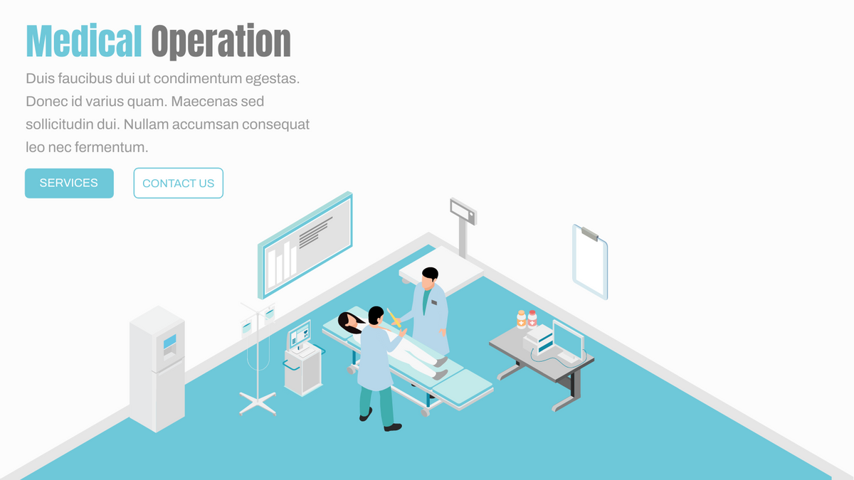 Isometric Diagram template: Medical Operation Room Banner (Created by InfoART's Isometric Diagram maker)