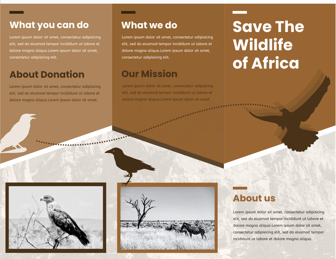 Brochure template: Save The Wildlife Brochure (Created by InfoART's Brochure marker)