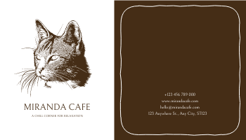 Business Card template: Brown Cat Silhouette Cafe Business Card (Created by InfoART's Business Card maker)