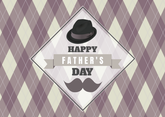 Postcard template: Happy Father's Day with Hat and Mustache Postcard (Created by InfoART's Postcard maker)