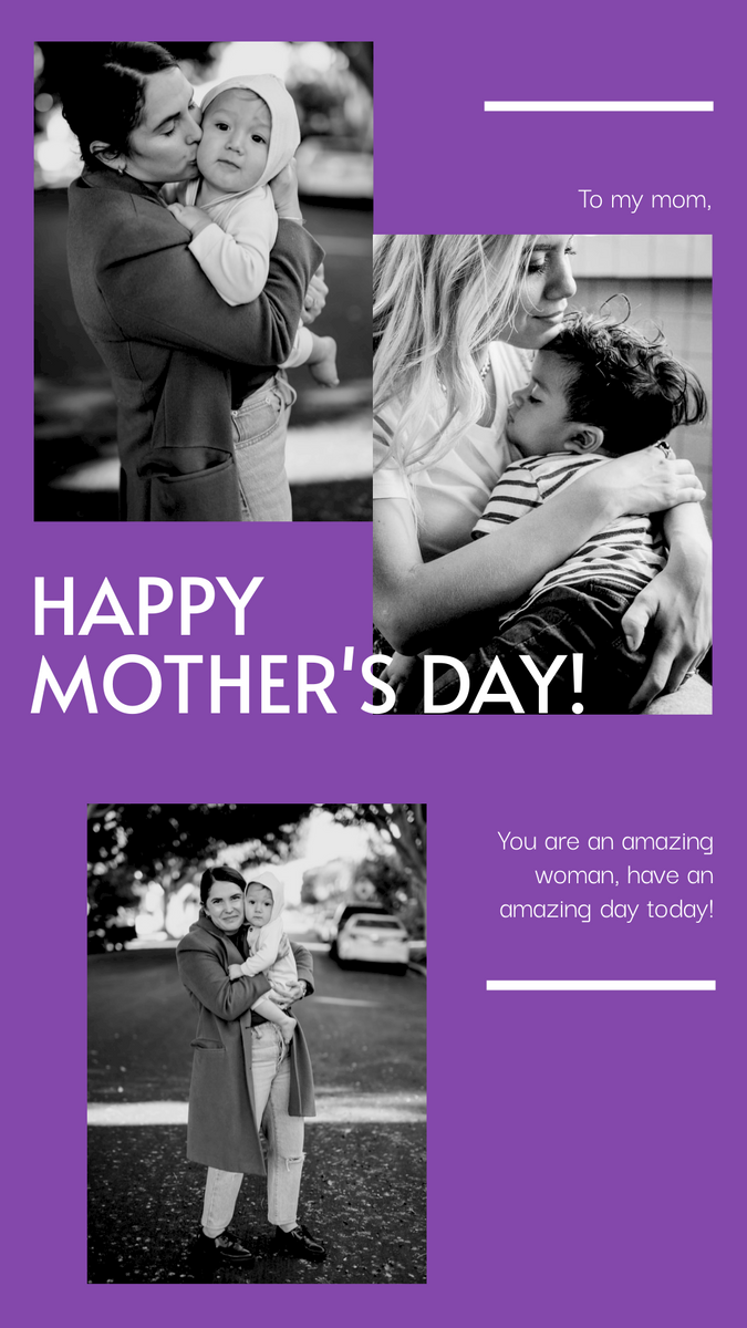 Instagram Story template: Black And White Photos Mother's Day Instagram Story (Created by InfoART's Instagram Story maker)
