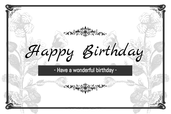 Greeting Card template: Monochrome Elegant Floral Birthday Card (Created by InfoART's Greeting Card maker)