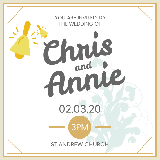 Invitation template: Simple Wedding Invitation (Created by InfoART's Invitation marker)