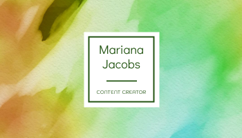 Business Card template: Green And Yellow Watercolor Business Card (Created by InfoART's Business Card maker)