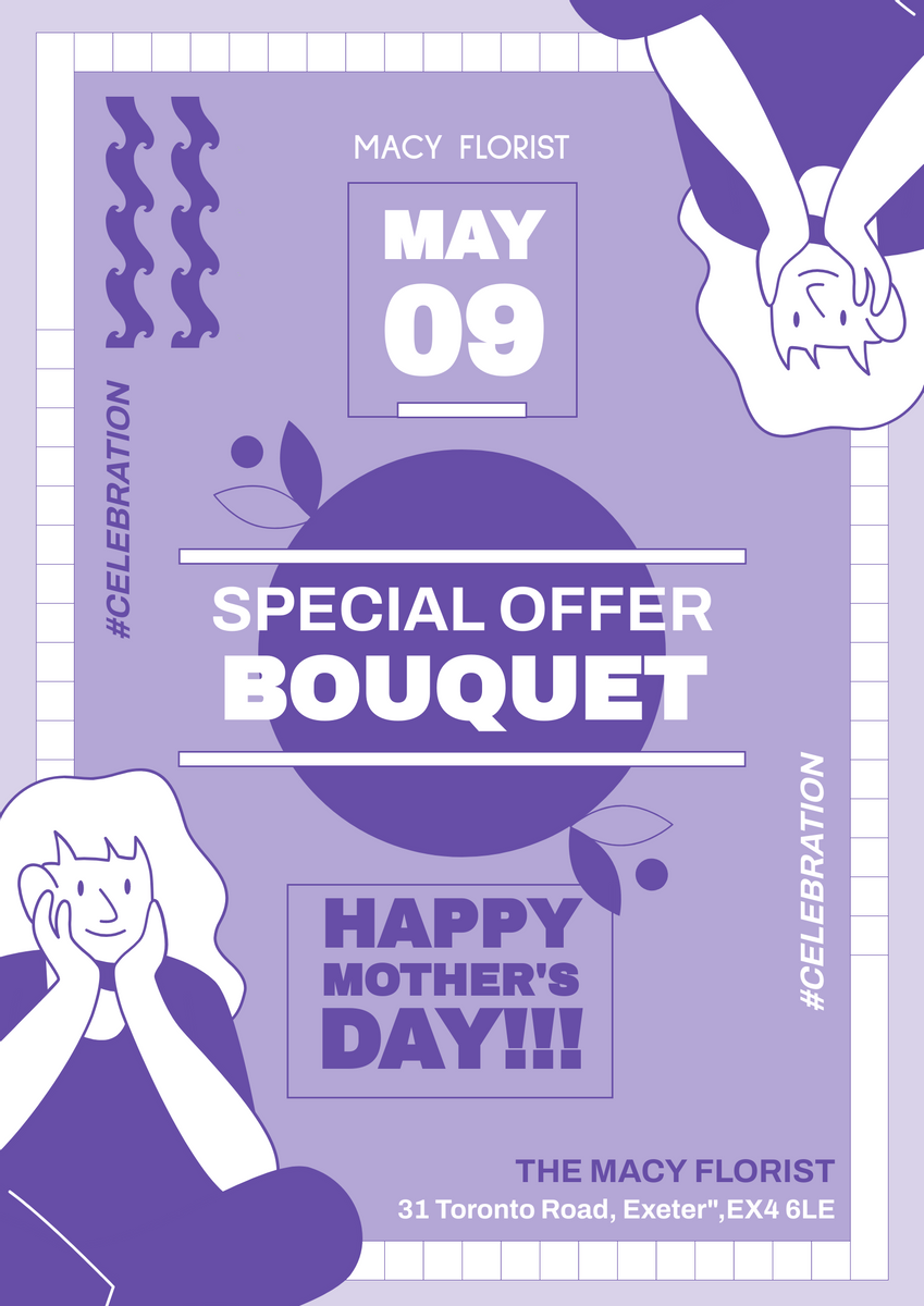 Poster template: Purple Mother Day Bouquet Poster (Created by InfoART's Poster maker)