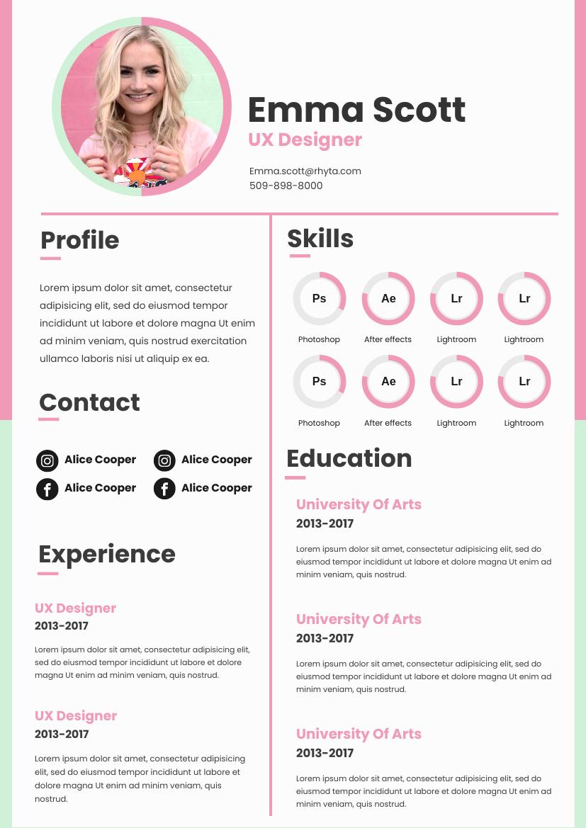 Resume template: Pastel Resume (Created by InfoART's Resume maker)
