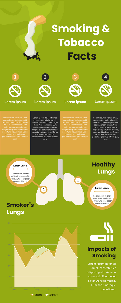 Infographic template: Smoking & Tobacco Facts Infographic (Created by InfoART's Infographic maker)
