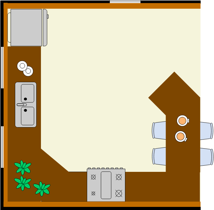 Kitchen Floor Plan template: Kitchen with Island (Created by Diagrams's Kitchen Floor Plan maker)