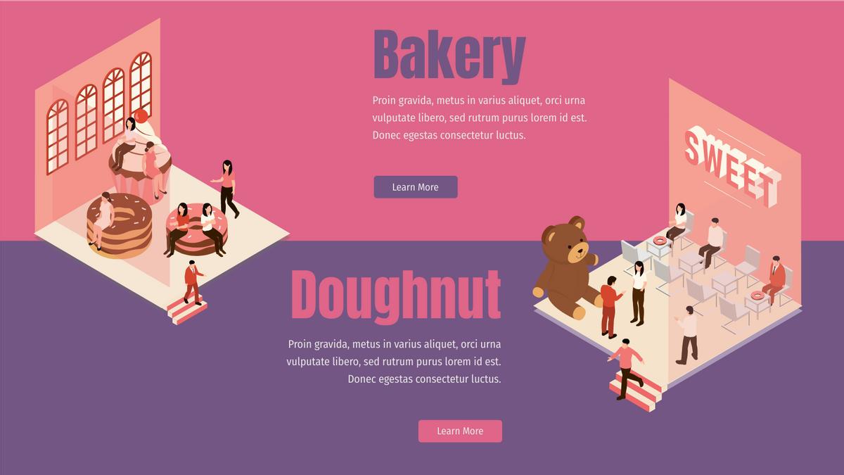 Isometric Diagram template: Bakery Doughnut Store (Created by InfoART's Isometric Diagram marker)