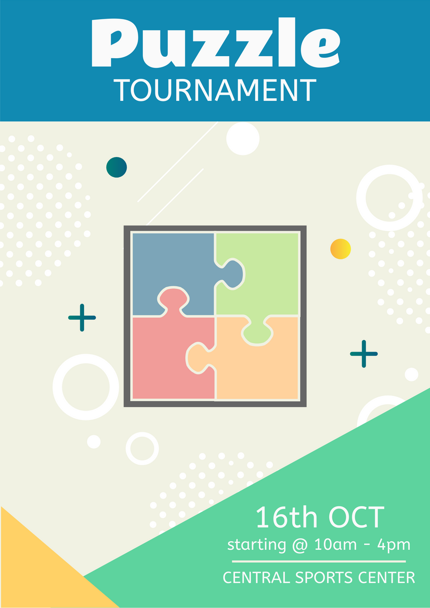 Poster template: Puzzle Tournament Poster (Created by InfoART's Poster maker)
