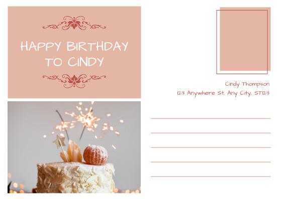 Postcard template: Pink Romance Happy Birthday Postcard (Created by InfoART's Postcard maker)