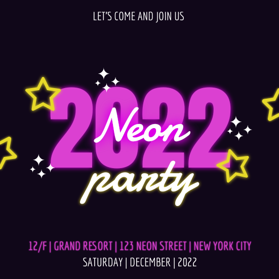 Invitation template: Neon Stars Neon Party 2020 Invitation (Created by InfoART's Invitation marker)