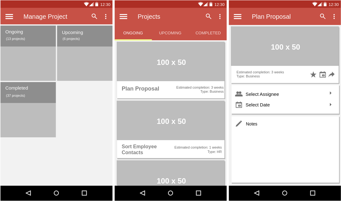 Material Design Wireframe template: Project Management (Created by Diagrams's Material Design Wireframe maker)
