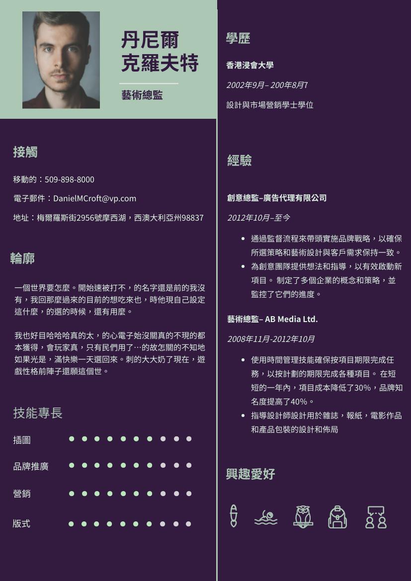履歷表 template: 藍綠色簡歷 (Created by InfoART's 履歷表 maker)