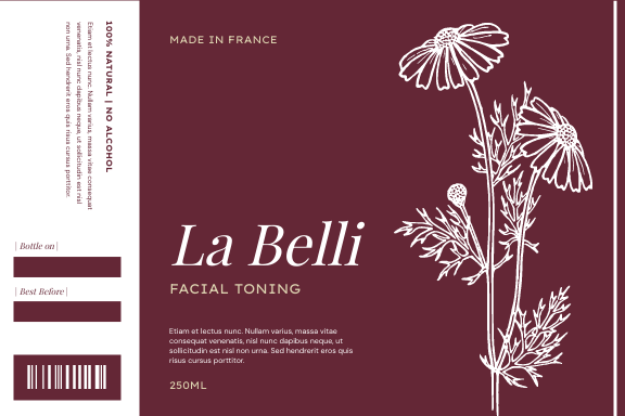 Label template: Floral Illustration Body Care Product Label (Created by InfoART's Label maker)