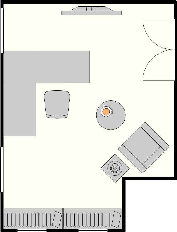 Home Office Floor Plan template: Modern Home Office (Created by Diagrams's Home Office Floor Plan maker)