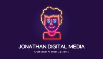 Business Card template: Purple Neon Portrait Digital Media Business Card (Created by InfoART's Business Card maker)