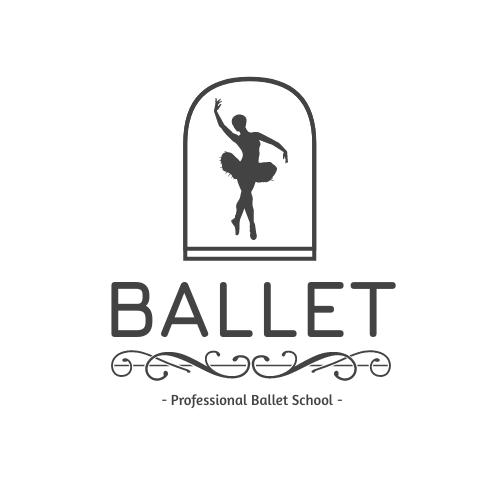 Logo template: Monochrome Ballet School Logo Created With silhouette Of Dancer (Created by InfoART's Logo maker)
