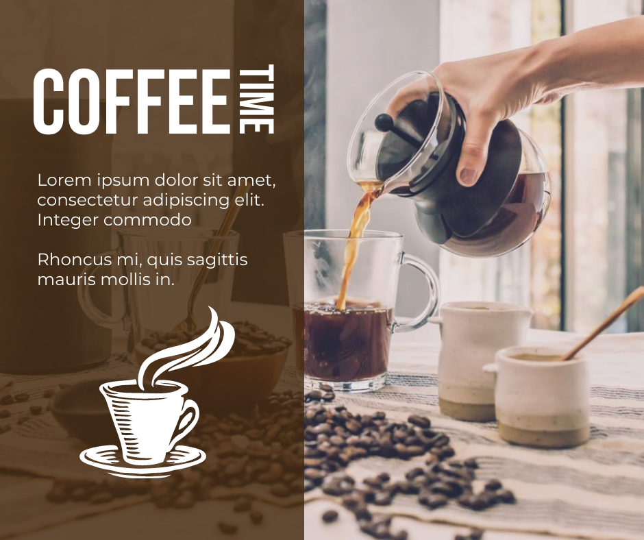 Facebook Post template: Brown Coffee Time Promotional Facebook Post (Created by InfoART's Facebook Post maker)