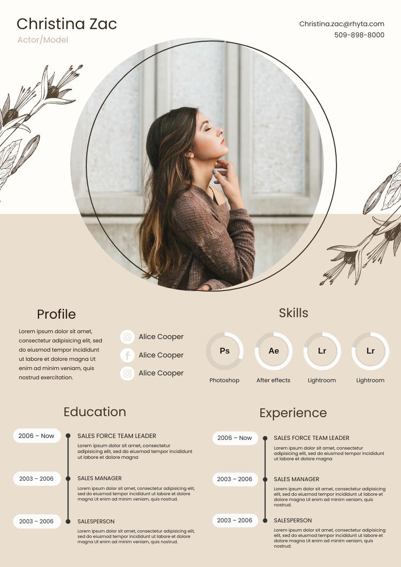 Resume template: Peach Blush Resume (Created by InfoART's Resume maker)
