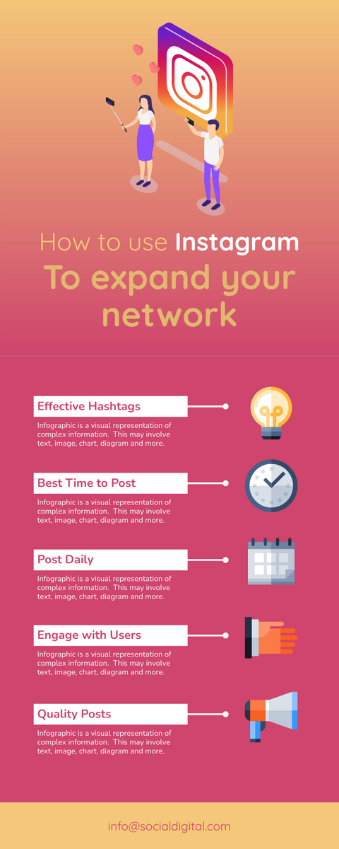 Infographic template: 5 Ways to Improve Instagram Infographic (Created by InfoART's Infographic maker)