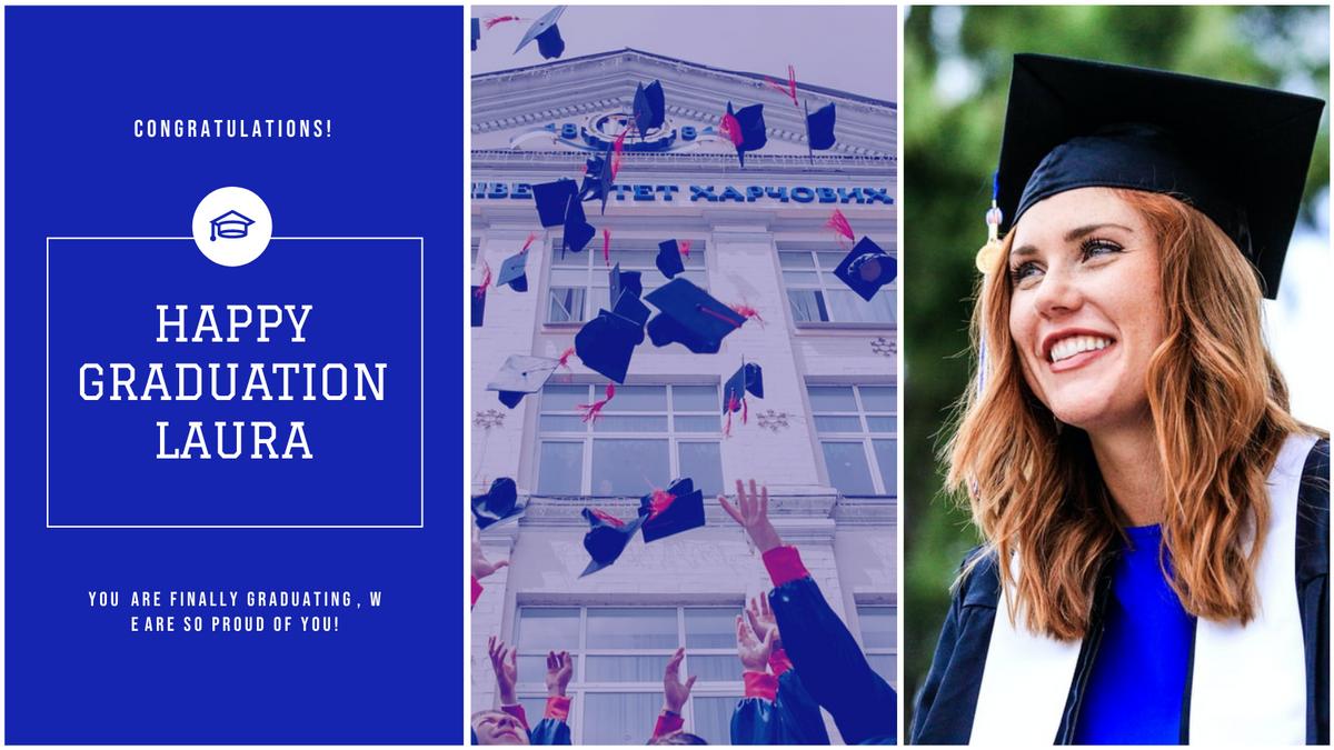 Twitter Post template: Blue School Photo Happy Graduation Twitter Post (Created by InfoART's Twitter Post maker)