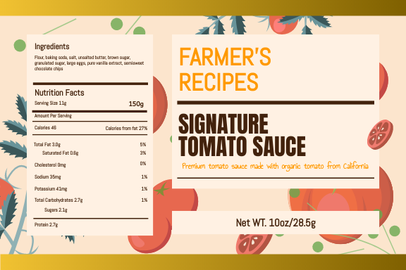 Label template: Organic Tomato Sauce Label (Created by InfoART's Label maker)