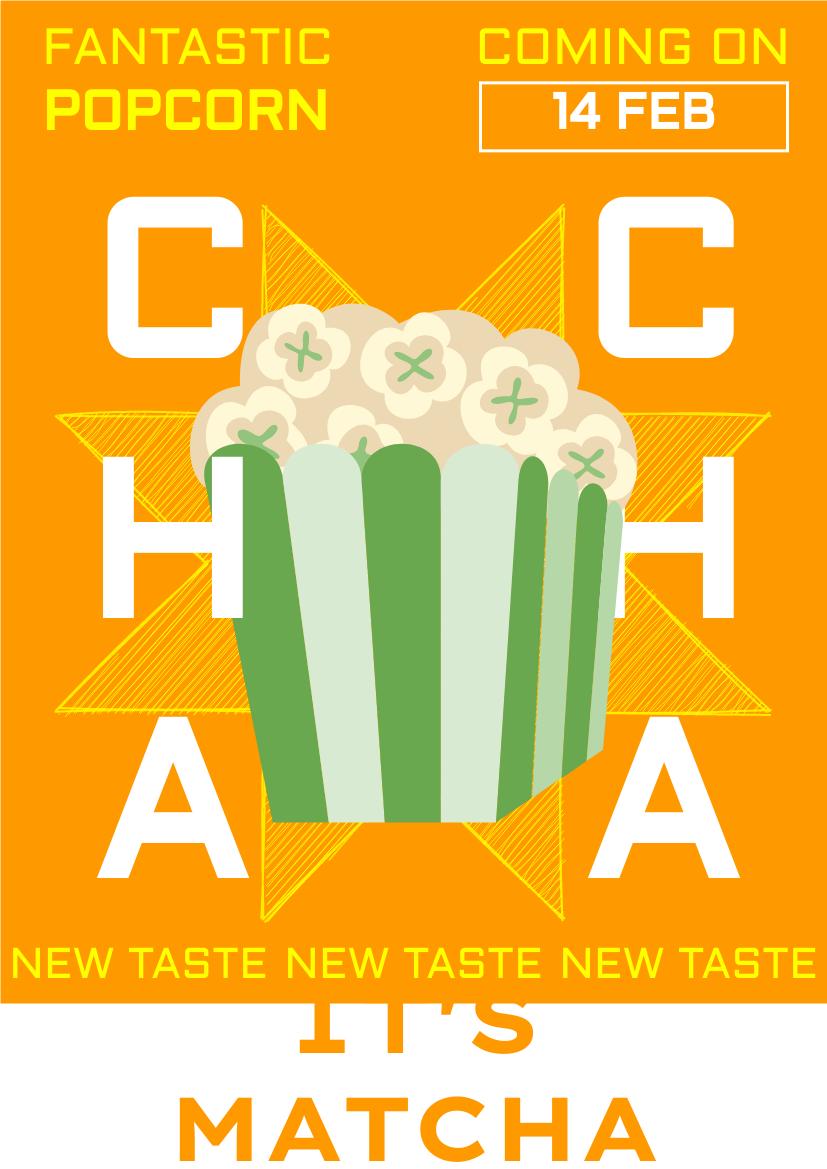 Flyer template: Matcha Flavor Popcorn Promote Flyer (Created by InfoART's Flyer maker)