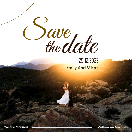 Invitation template: Save The Date Brown Marriage Invitation  (Created by InfoART's Invitation marker)