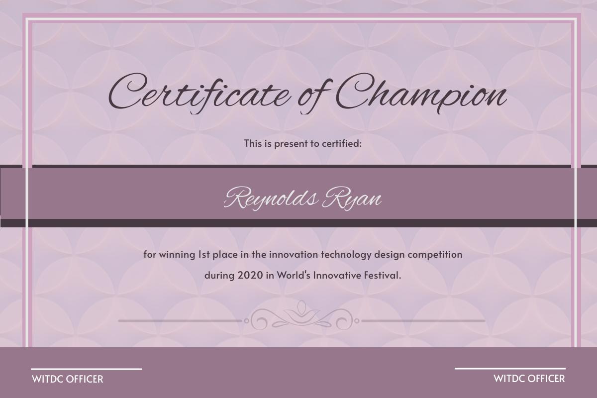 Violet Shade Certificate