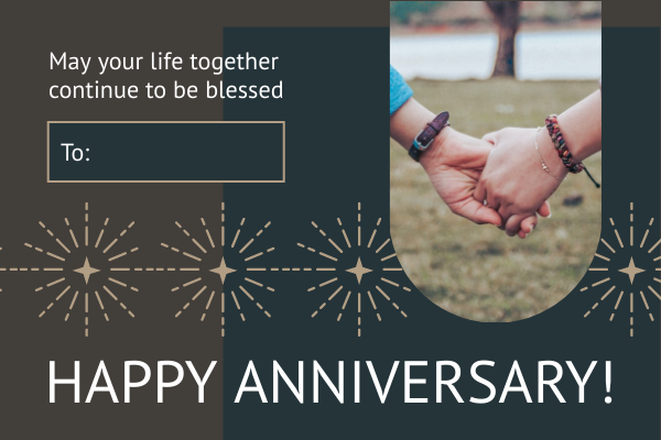 Greeting Card template: Starry Wedding Anniversary Greeting Card (Created by InfoART's Greeting Card maker)