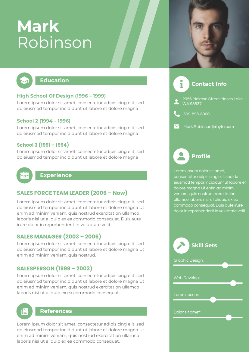 Resume template: Resume with Reference (Created by InfoART's Resume maker)