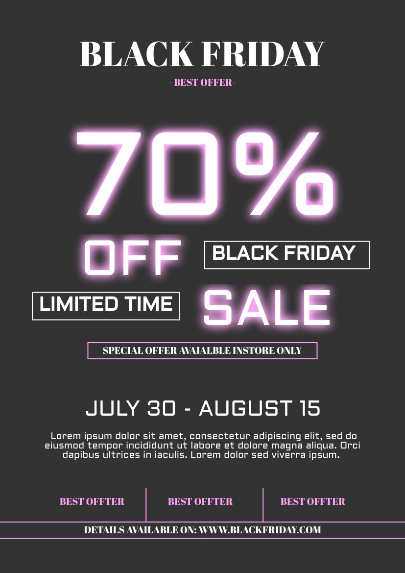 Flyer template: Neon Effect Black Friday Sale Flyer (Created by InfoART's Flyer maker)