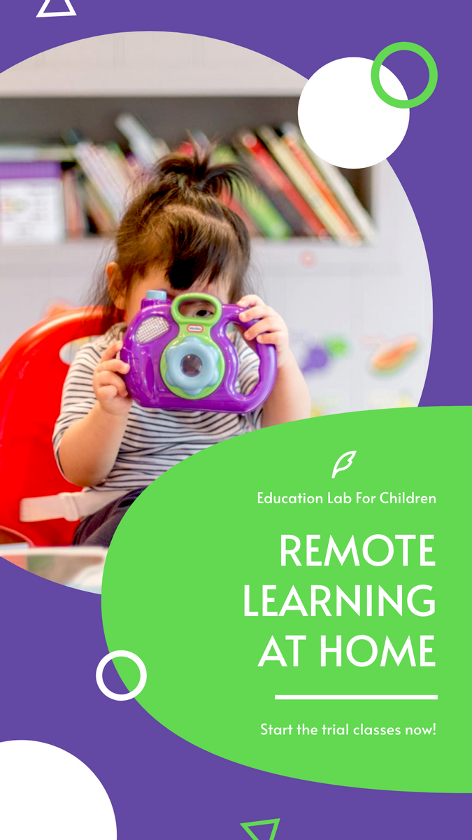 Instagram Story template: Purple And Green Kids Photo Remote Learning Instagram Story (Created by InfoART's Instagram Story maker)