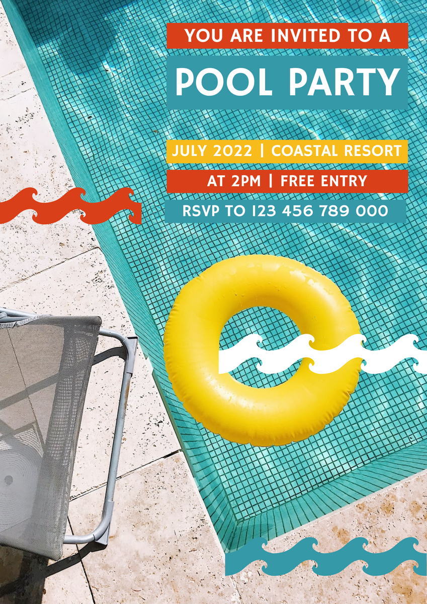 Poster template: Colorful Pool Party 2021 Poster (Created by InfoART's Poster marker)