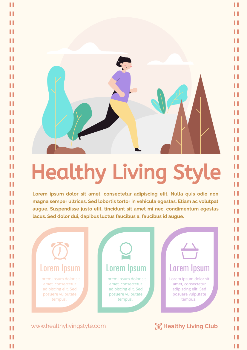 Flyer template: 3 Points Of Healthy Living Style Flyer (Created by InfoART's Flyer maker)