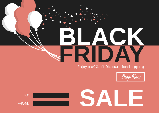 Gift Card template: Pink Balloon Black Friday Shopping Sale Gift Card (Created by InfoART's Gift Card maker)