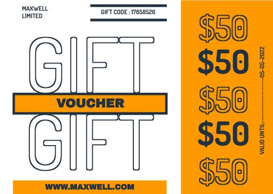 Gift Card template: Orange Bold Voucher Gift Card (Created by InfoART's Gift Card maker)